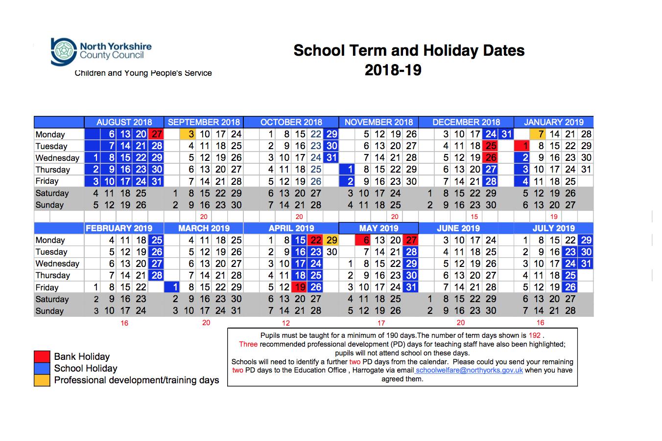 Term Dates 2018-19 - Mowbray School