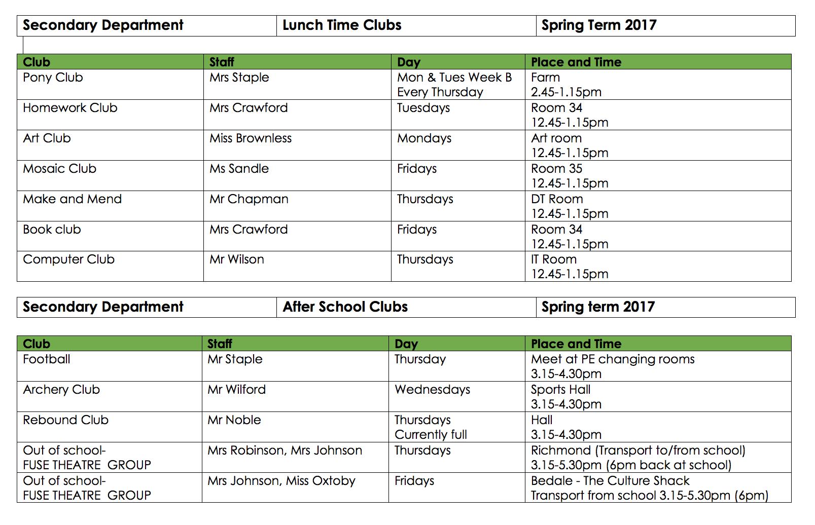 School Clubs Spring17